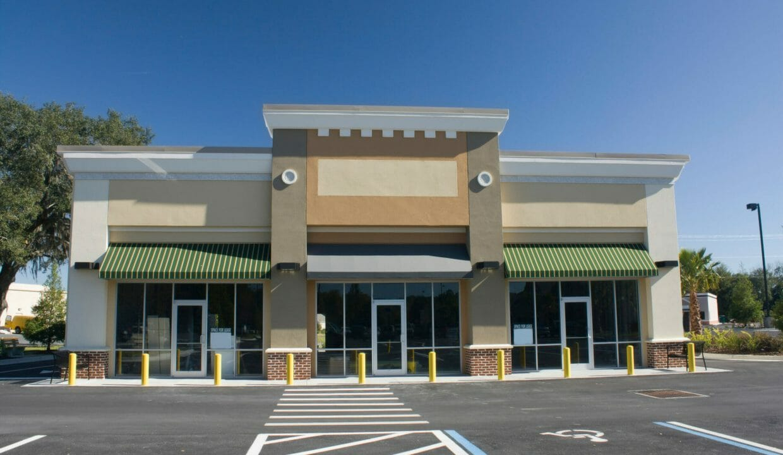 pastel brown strip mall